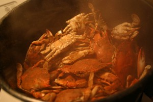 Steamed crabs caught in Crabbe Creek